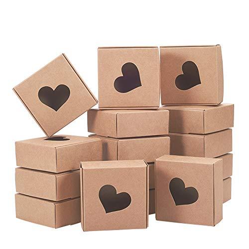 BENECREAT 30 PCS Caja de Cartón con Patrón Hueco de Corazón Caja de Papel Carft 7.5x7.5x3cm Envase Superior para Chocolate, Galleta, Artesanía, Joyería