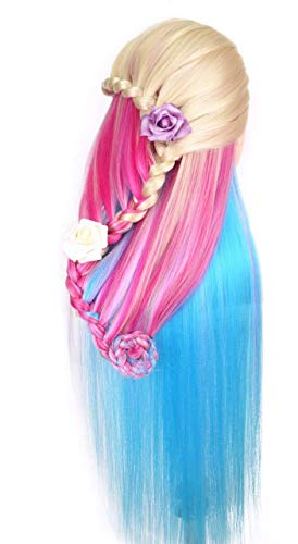 24 Cosmetology Mannequin Head 100% Synthetic Hair Rainbow Color, Practice Training Hair Styling Mannequin Head (Blonde Series) by Perfehair