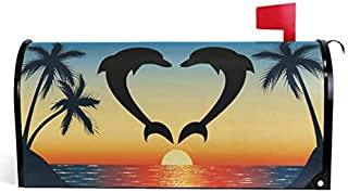 Diuangfoong Heart Shaped Dolphins Mailbox Cover Palm Tree Sunset Ocean Mailbox Covers Magnetic Mailbox Wraps Post Letter Box Cover
