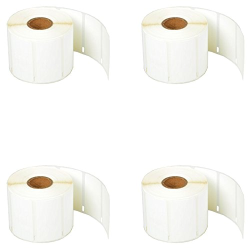 "SuperInk [4 Roll, 1500 Labels/Roll] White Self-Adhesive Jewelry Price Tag 2-up Labels Barbell Style Compatible for Dymo 30299 3/8"" x 3/4"" use in LabelWriter 300 310 450 Duo 4XL Printer,BPA Free"