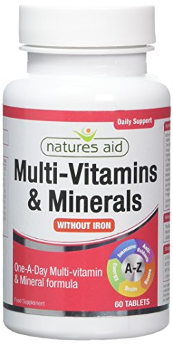 Natures Aid Multi-Vitamins and Minerals 60 Tablets (Without Iron, One-a-Day Multi-Vitamin and Mineral Formula, Supports Immune, Energy, Brain and Bone Health, Vegan Society Approved, Made in the UK)