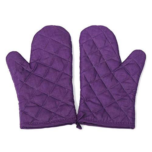 UKKD Guantes Barbacoas 1 Par Color Púrpura Cocina Artesanía Resistente Al Calor Horno De Algodón Guante Pote Hornear Cocinar Mitones