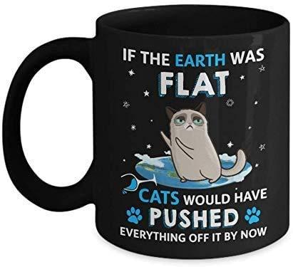 Si la tierra fuera plana, los gatos se habrían deshecho de todo divertido taza de café - regalo negro para amigo amante esposo esposa colega amante de los gatos en cumpleaños navidad acción de gracias