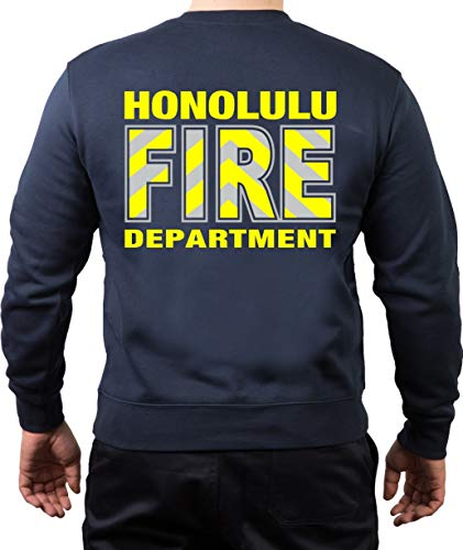 FEUER1 Sweat-shirt (Navy) Honolulu Fire Dept (Hawaii) (argent/jaune fluo) - Bleu - XXX-Large