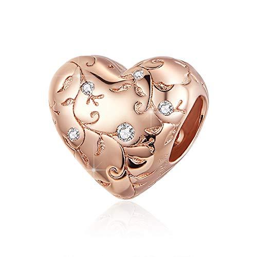BAMOER Charm de corazón de plata 925 con colgantes de corazón vintage originales compatibles con Pandora pulseras y collares Ideas regalo para mujer Charm corazón de oro rosa