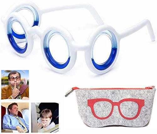 Motion Sickness Smart Glasses, Raised Airsick Sickness Seasickness Detachable Portable Travel Glasses, Anti-Motion No Lens Liquid Glasses for Men Women Kids,Black Technology Relieve Seasickness Airsic