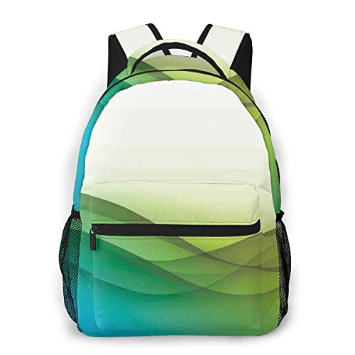 Lawenp School Backpacks Modern Circled Wavy Like Green Color Rainbow Seem Ombre Artwork for Teen Girls&Boys 16 Inch Student Bookbags Laptop Casual Rucksack