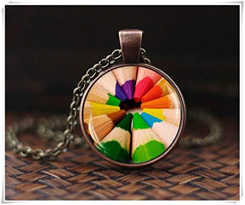 Buntstifte Anhänger, Regenbogenfarben, Buntstifte, Halskette, Kunst-Bleistift-Halskette, Geschenk für Künstler Designer Maler Schmuck