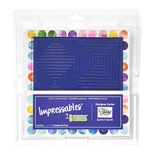 Gel Press Impressables Embossed Print Plate Squares in Squares