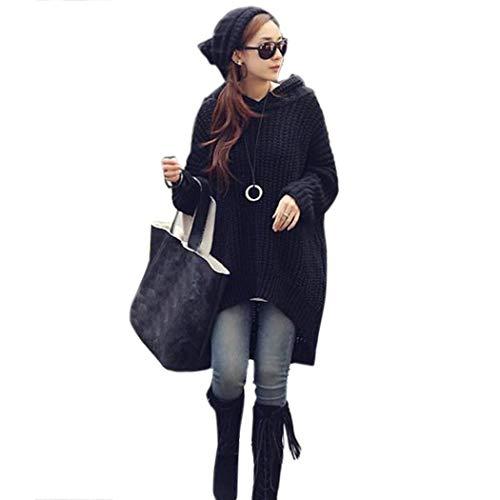 Damen Kapuzenpullover Herbst Winter Thermo Warm Strickpullover Elegant Classic Hipster Pullover Fashion Trendigen Unifarben Langarm V-Ausschnitt Unregelmäßig Hoodie Kapuzenpullis Kleidung