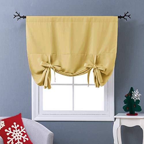 NICETOWN Yellow Tie-Up Shade Curtain - Window Treatment Balloon Valance Drape for Kitchen Window (Rod Pocket Panel, 46 inches W x 63 inches L)