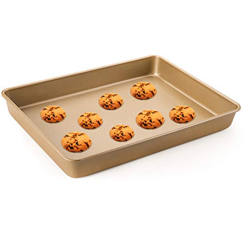 WUWEOT Non-Stick Rectangle Cookie Pans, 15'x11.6' Baking Pan Cake Sheet For Brownies, Cookie, Cakes, Casseroles