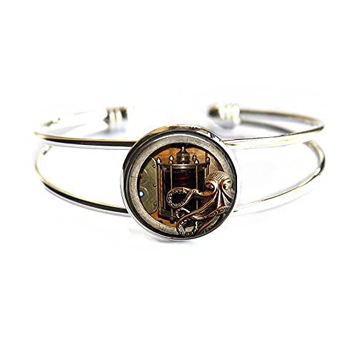 Pulsera de cristal de cúpula con imagen de animales, brazalete de pulpo y brazalete Steampunk, mejor amigo, regalo de BFF, colgante de pulpo, PU342