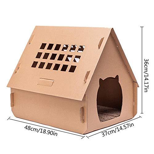 Casa de cartón para gatos, rascador, cama para gatos, poste para rascar corrugado para gatos, casa de gatitos plegable para gatos, animales pequeños