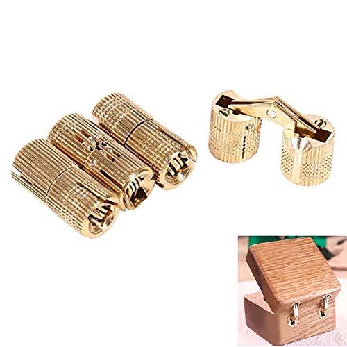 4 pezzi Cerniera nascosta, cerniere a barilotto in rame nascoste cerniera a scomparsa in ottone per scatola di gioielli per contenitore gioielli(12 mm)