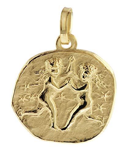 trendor Sternzeichen-Anhänger Zwilling 333 Gold 16 mm Gold Anhänger Sternzeichen für Damen, Herren und Kinder, Sternzeichen Echtgold, Anhänger Gold, 08730