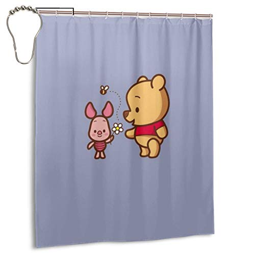 Winnie Cartoon Pooh Haushalt Badezimmer Badewanne Duschvorhang Druck Wasserdicht Neu Haken 152,4 x 182,9 cm Eisen