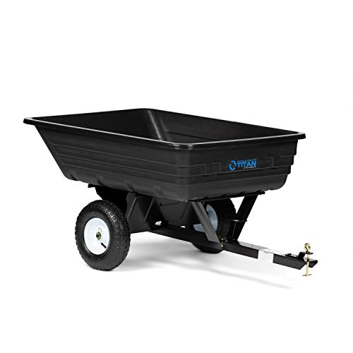 Titan Attachments 400 LB (10 Cu. Ft.) Economy Poly Dump Cart for Lawn Tractor and ATV/UTV's, Poly Dump Cart, Utility Tow