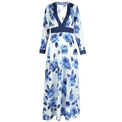 Maxi Abito da Sera da Donna con Scollo a V e Maniche Lunghe a Fiori (Color : Blue+White, Size : XL)