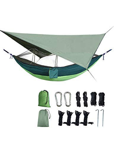 gfdfrg Camping Hammock (260 x 140cm) for 2 Person with Mosquito Net and Tarp Rain Cover for Backpacking, Camping, Travel, Beach, Garden