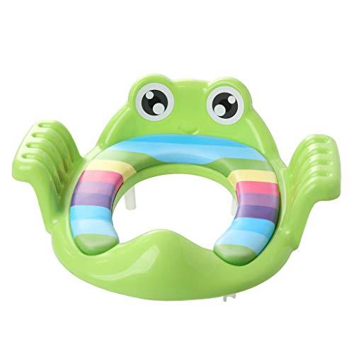 DingLong Faltbare Toilettensitze für Kinder/Baby, Tragbarer, Klappbar, Rutschfest, Frosch Cartoon WC Sitz,Verstellbarer Trainingsstuhl Grün