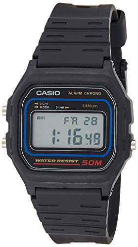 Casio Men's Classic Japanese Quartz Watch with Resin Strap, Black, 16 (Model: W-59-1VUX)