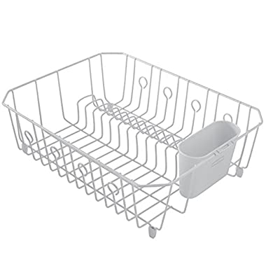 Rubbermaid AntiMicrobial In-Sink Dish Drainer With Silverware Cup, White, Large (FG6032ARWHT)