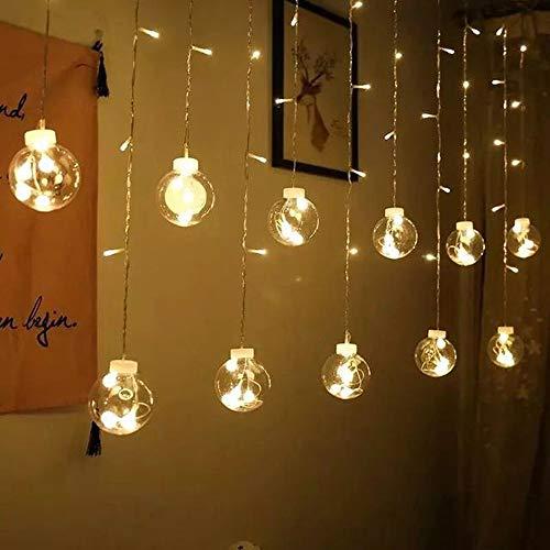Kerstversiering sale, lichtketting werkt op batterijen, stekkeradapter, 2,5 meter lang 138 lichten kerstversiering lichtsnoer, gordijn lichten Wish Ball Lights, kerstversiering