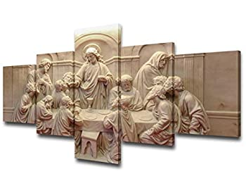 The Last Supper Wal Art la ultima cena cuadro Pictures for Living Room Christian Paintings Jesus Christ Artwork 5 Piece Canvas Home Decor for Living Room Framed Stretched Ready to Hang 50  Wx24  H