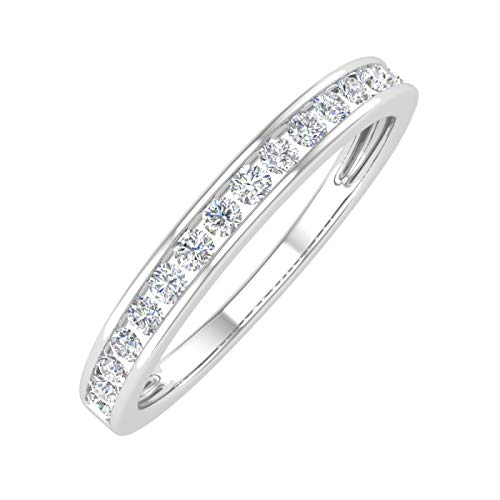 1/4 Carat Channel Set Diamond Anniversary Wedding Band in 10K White Gold (Ring Size : 6)