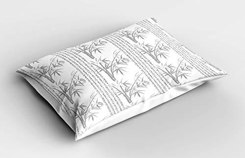 ABAKUHAUS asiatisch Kissenbezug, Hieroglyphs Bambus Motive, Dekorativer Standard King Size Gedruckter Kissenbezug, 75 x 50 cm, Weiß Pale Taupe