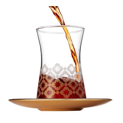 Pasabahce Teeglas mit Blumenmuster und goldenem Unterteller 165 ml 6er Set