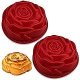 Stampo Spirale Rose Rosso, BKJJ 2 Pezzi Stampo Silicone per Dolci, Stampo Torta Forma Fiore Grande, Stampo per torta in silicone, per Sapone, Tortiera, Pasticceria
