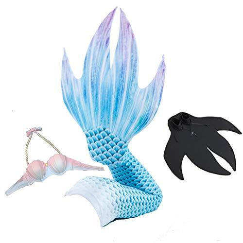 Jolie Damen Meerjungfrauenschwanz mit Monoflosse Badeanzug Sea-Maid Cosplay Bikini Slim Fit 3 Stück eingestellt,Blue,M