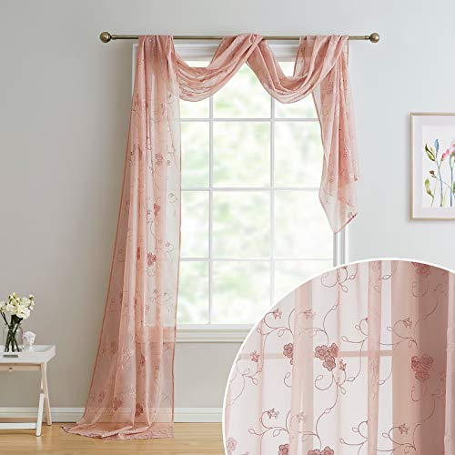 HLC.ME Allegra Floral Embroidered Sheer Voile Light Filtering Window Curtain Valance Scarf - 38 x 216 Inch Long (Blush Pink)