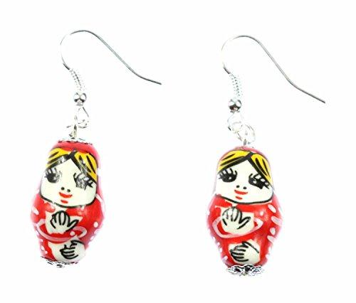 Miniblings Matroschka Ohrringe Hänger Babuschka russische Puppe Porzellan rot - Handmade Modeschmuck I Ohrhänger Ohrschmuck versilbert