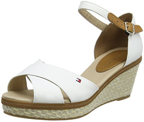Tommy Hilfiger Damen Iconic ELBA Sandal Basic Riemchensandalen, Weiß (Whisper White 121), 41 EU