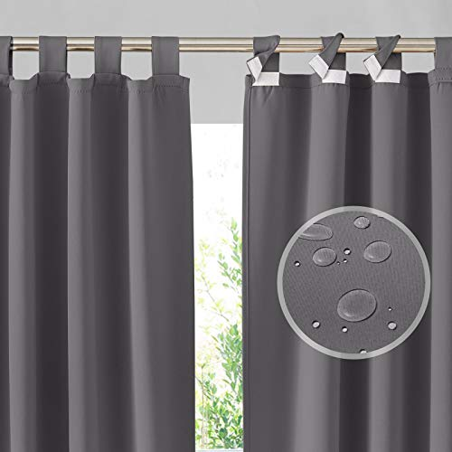 RYB HOME Outdoor Curtains Patio - Detachable Top Indoor Outdoor Curtains Waterproof Blackout Privacy Screen for Porch Pergola Gazebo Cabana Garage, 2 Panels, Wide 52 x Long 84 inch, Grey