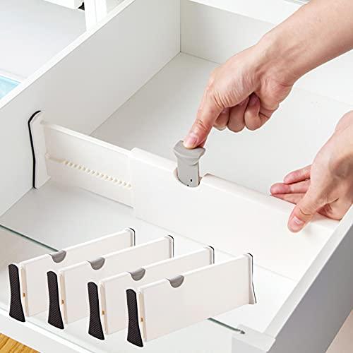 Separador Cajones Ajustable de Plástico (28,3-43,5)x 10 cm, Divisor Cajones Expansible(Pack de 6) – Almacenaje para Cocina, Dormitorio, Baño, Ordenacion Escritorios, Oficina y Armario