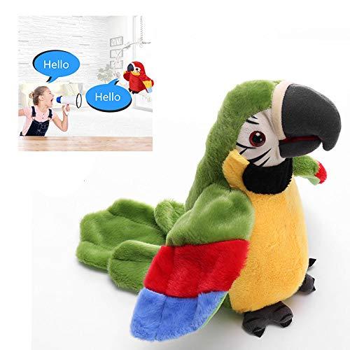 Leuk pratend papegaaienspeelgoed, neem interactief knuffel op, herhaal sprekende papegaai zwaaiende vleugels, voor kinderen, kinderen, kerstverjaardagsgift,Green