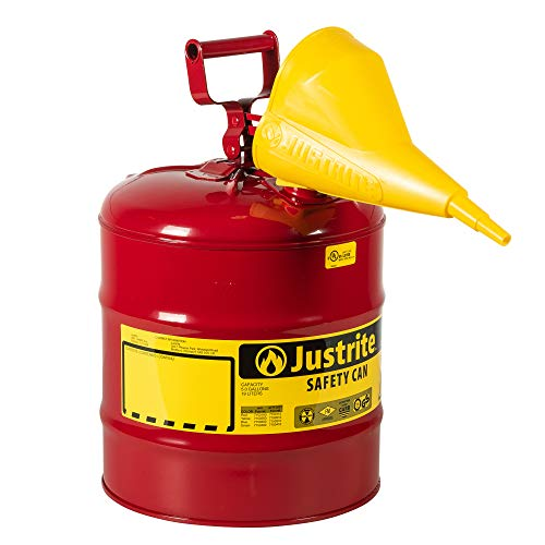 Justrite 7150110 5 Gallon, 11.75' OD x 16.875' H Galvanized Steel Type I Red Safety Can With Funnel