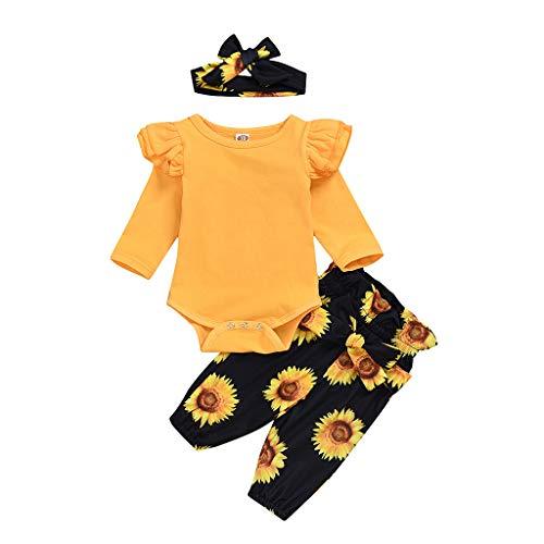 XshuaiRTE Ensemble de vêtements pour bébé Nouveau-né Fille Barboteuse Tops Tournesol Floral Pantalon Serre-tête Ensemble - Jaune - Taille Unique