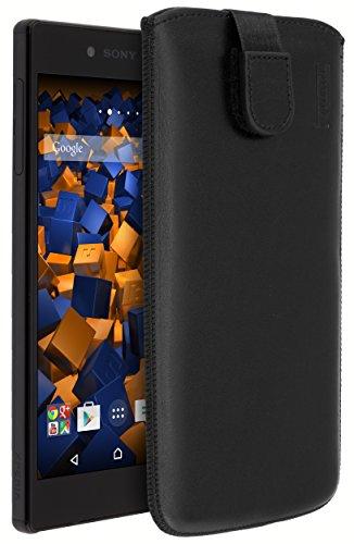 mumbi Echt Ledertasche kompatibel mit Sony Xperia Z5 Premium Hulle Leder Tasche Case Wallet schwarz