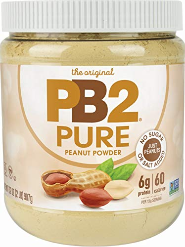 PB2 Pure Peanut Butter Powder - [2 lb/32 oz Jar] - No Added Sugar, No Added Salt, No Added Preservatives - 100% All Natural Roasted Peanuts - 6g of Plant-Based Protein