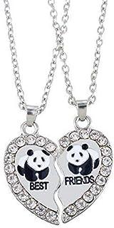 HOUSWEETY 2 Pcs Collier d'Amitie Forever Pendentif Coeur Briser Couple Puzzle Pandas Best Friends pour Femme