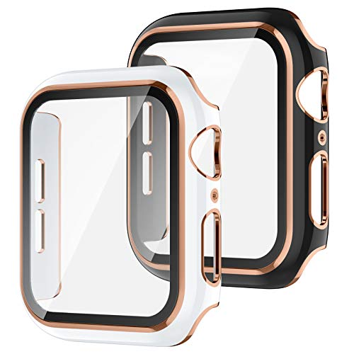 Recoppa 2 Pack Compatible Apple Watch Case 40mm with Tempered Glass Screen Protector, Rose Gold Edge Full Coverage Hard PC Cover Protective Case for iWatch Series SE/6/5/4(Black/White Bumper)