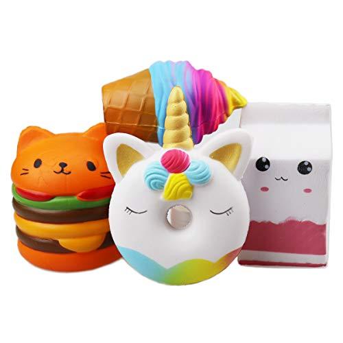 ZYDTRIP 4 Stück Squishy Spielzeug, Squeeze Stress Squishies Langsam Dekompression Creme Duftenden Geschenk für Kinder Erwachsene