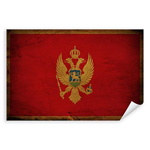 Postereck - 0331 - Vintage Flagge, Fahne Montenegro Podgorica - Unterricht Klassenzimmer Schule Wandposter Fotoposter Bilder Wandbild Wandbilder - Poster mit Rahmen - 29,0 cm x 19,0 cm
