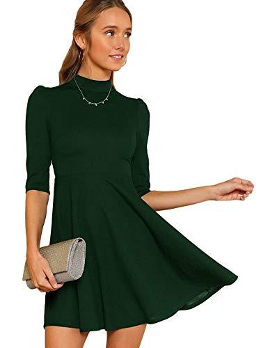 DIDK Damen Kleider Stehkragen Minikleid Partykleid Elegant Langarm Kleid A Linie Hohe Taille Puffärmel mit Reißverschluss Grün S