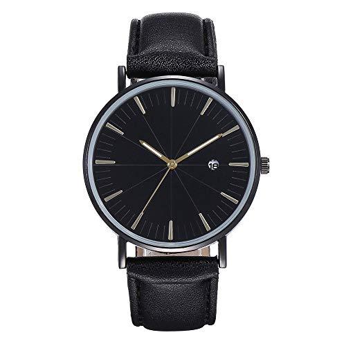 WHSHINE Unisex Armbanduhr Quarz Analoge Uhr Mode Einfaches Design Meridian Quarzuhren mit Kalender Leder Gürtel Watches für Herren und Frauen
